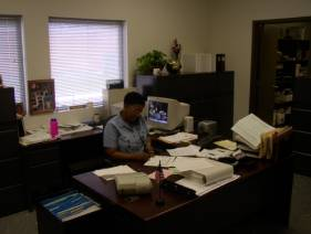Administrative worker at desk