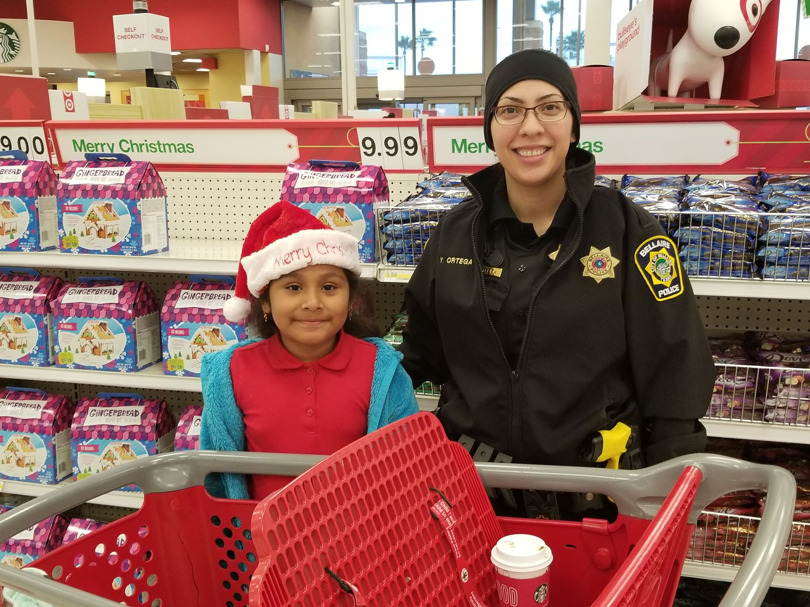 Officer and little girl shop at Target