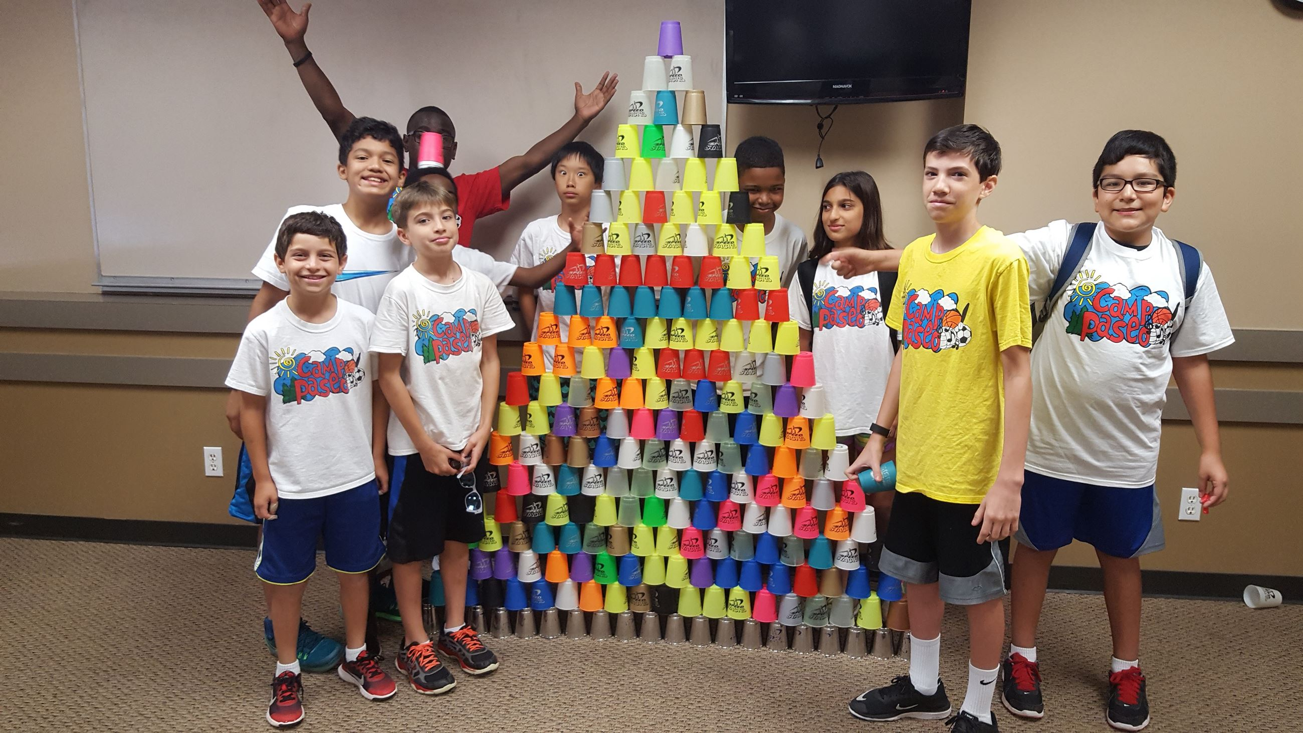Large cup stack up at Summer Camp