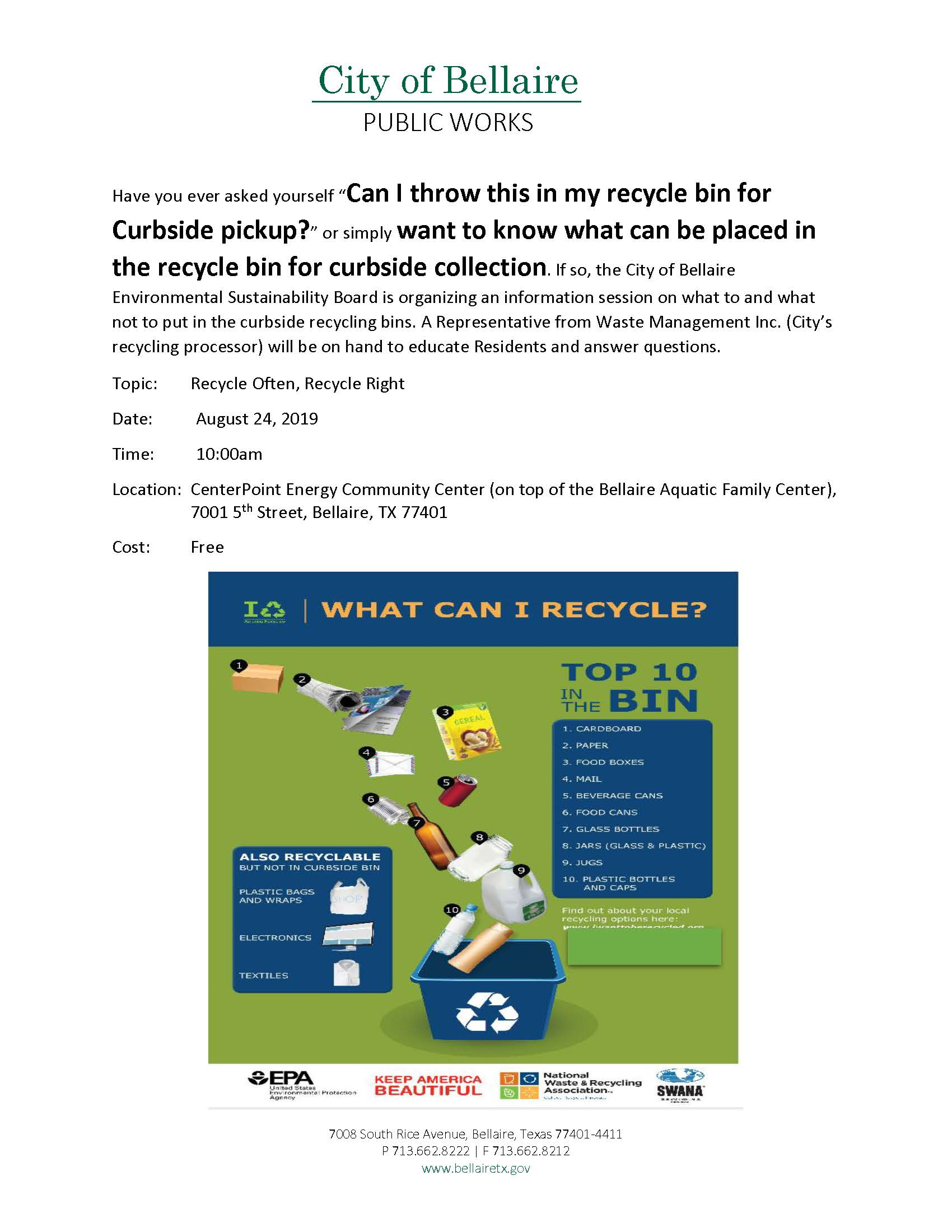 Recycling Information Session Flyer V4