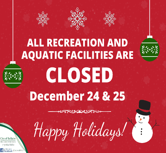Facilities Closed for Christmas