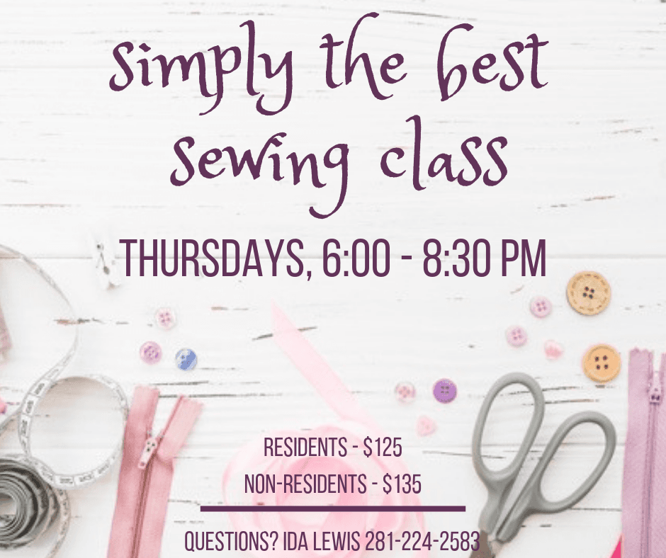 Simply the Best Sewing Class Flyer