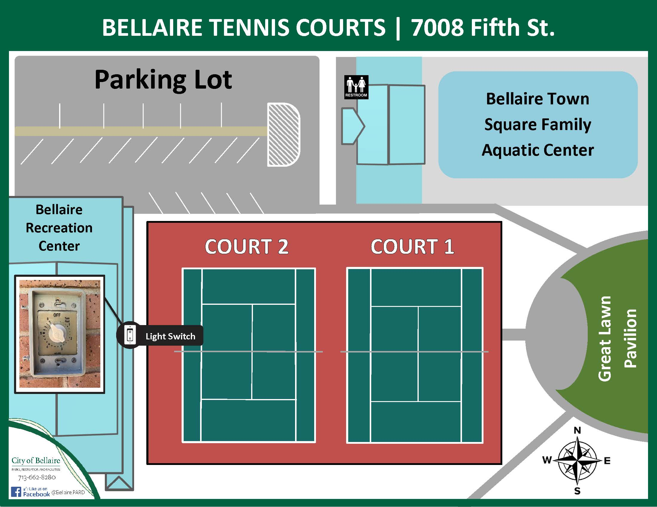 Bellaire Tennis Courts Map - 2