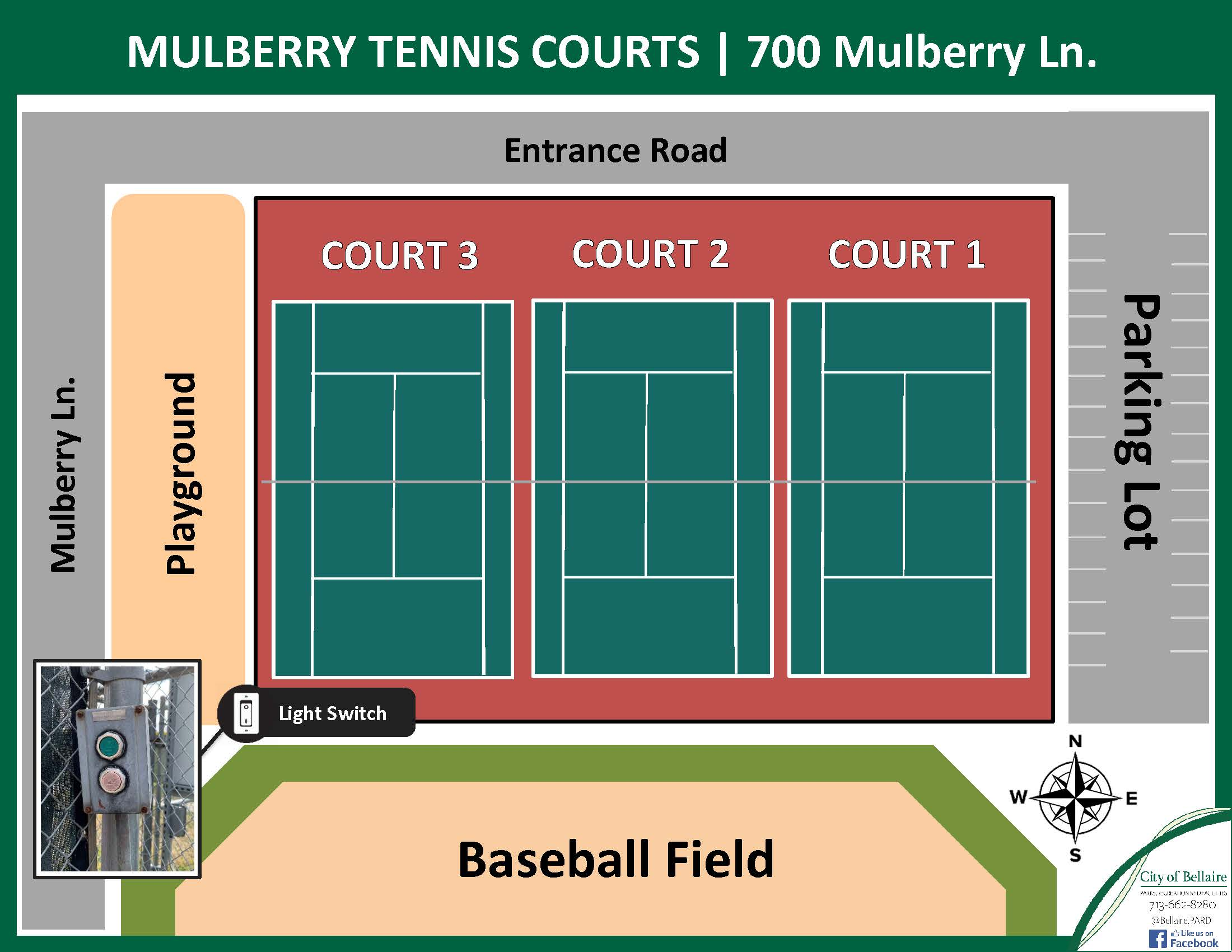 Mulberry Tennis Courts Map - 2